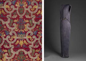 Mariano Fortuny y Madrazo, Cotton printed textile, 20th century; Mariano Fortuny y Madrazo, Peplos, 1910− 1920