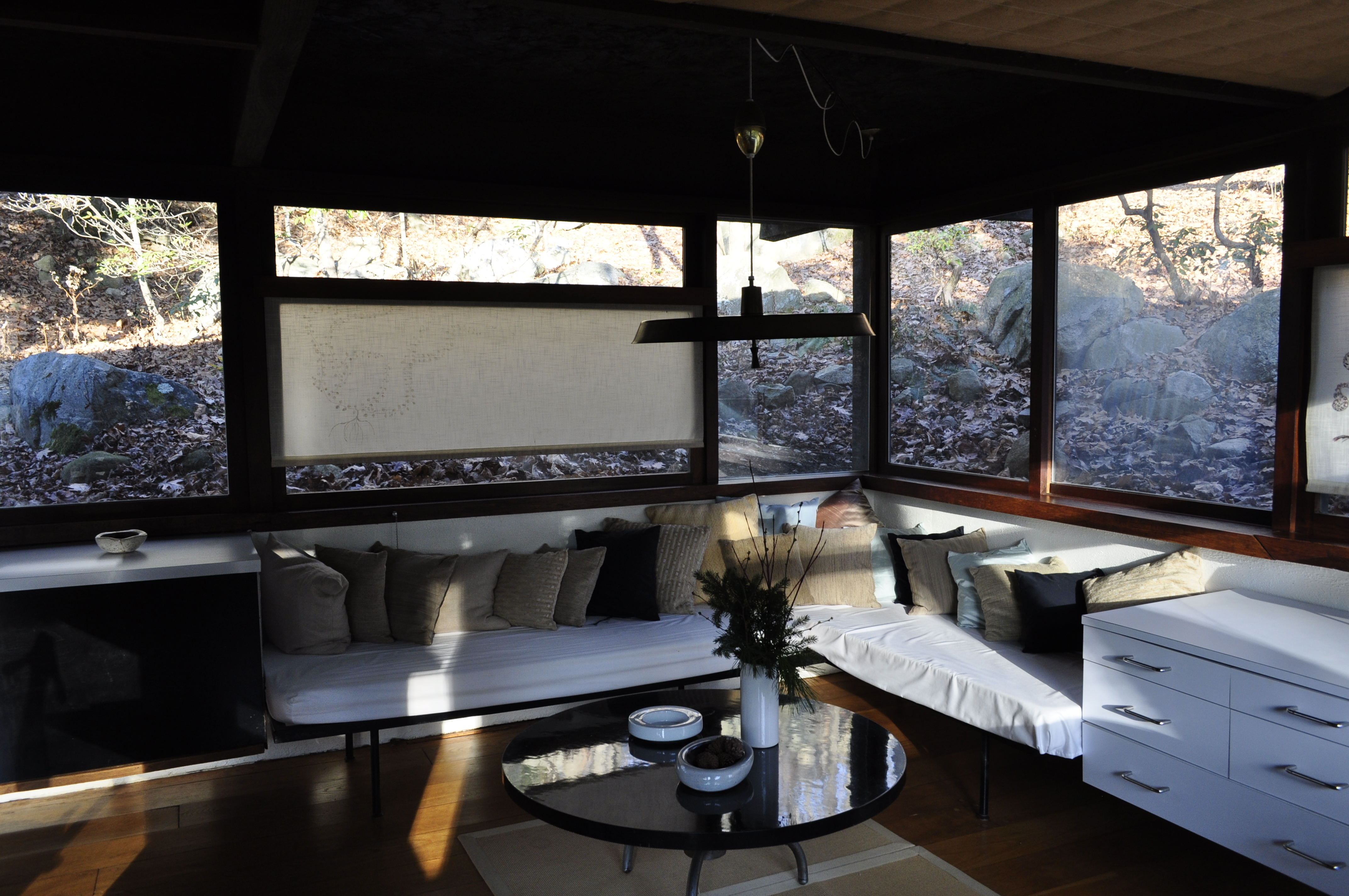 The sitting area in Wright's studio which is attached to Manitoga.
