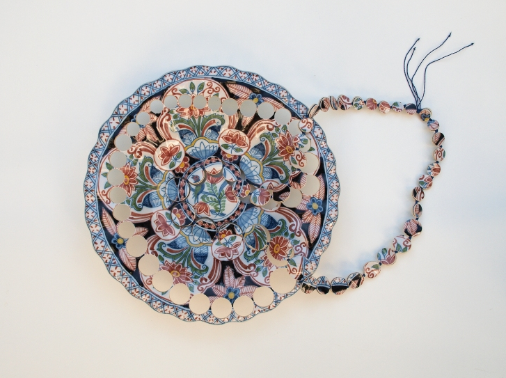 Colourful Makkum 'Plooischotel' Necklace, 2013. Wall plate of Dutch Frisian earthenware by Koninklijke Tichelaar Makkum, nylon thread